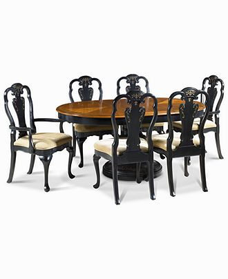 Hand-Painted 7-Piece Dining Set: Table, 4 Side Chairs and 2 Arm Chairs - furniture - Macy's