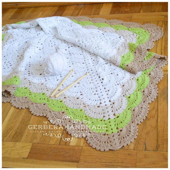 Eco crochet baby blanket  white Baby Blanket by GerberaHandmade, $84.99