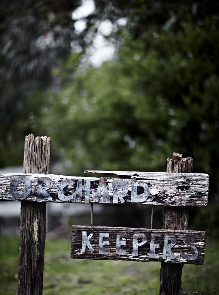 love the sign! looks like tin-snipped letters! Orchard Keepers | Country Chic - Est Magazine