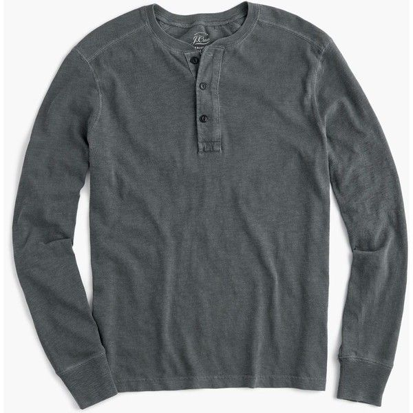 J.Crew Garment-dyed henley ($60) ❤ liked on Polyvore featuring men's fashion, men's clothing, men's shirts, men's casual shirts, mens base layer shirts, mens longsleeve shirts, mens french cuff shirts, mens henley shirts and mens long sleeve cotton shirts