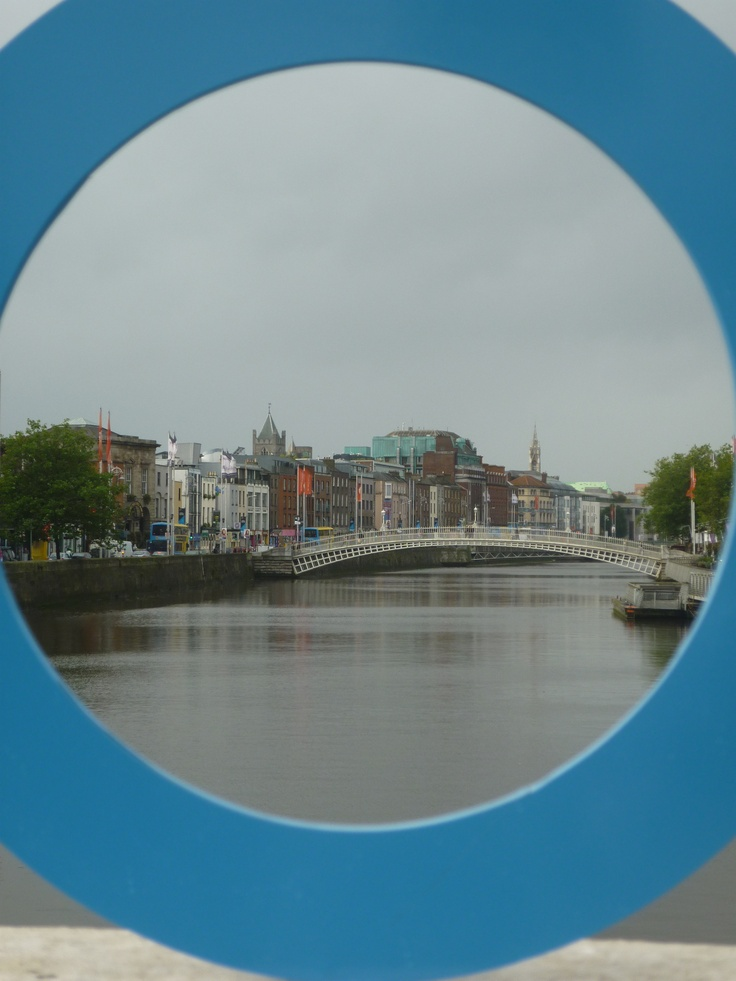 Blue Circle Campaign takes on Dublin!  The river Liffey and the Ha'penny bridge, Dublin.