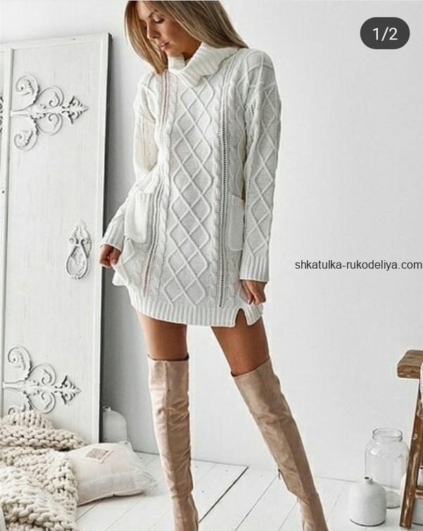 вязание спицами платье туника схема короткое косы для женщин