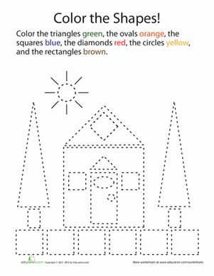Kindergarten Shapes Places Worksheets: Shape Coloring
