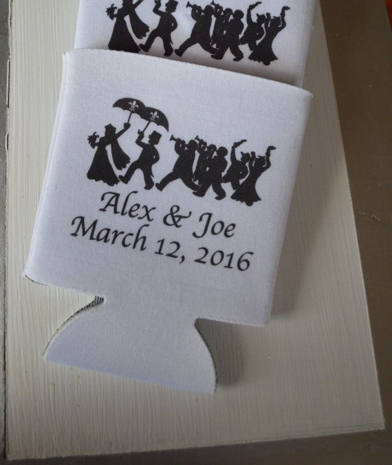 New Orleans Wedding Can Coolers with our second line parade art personalized and customized great price 1.24