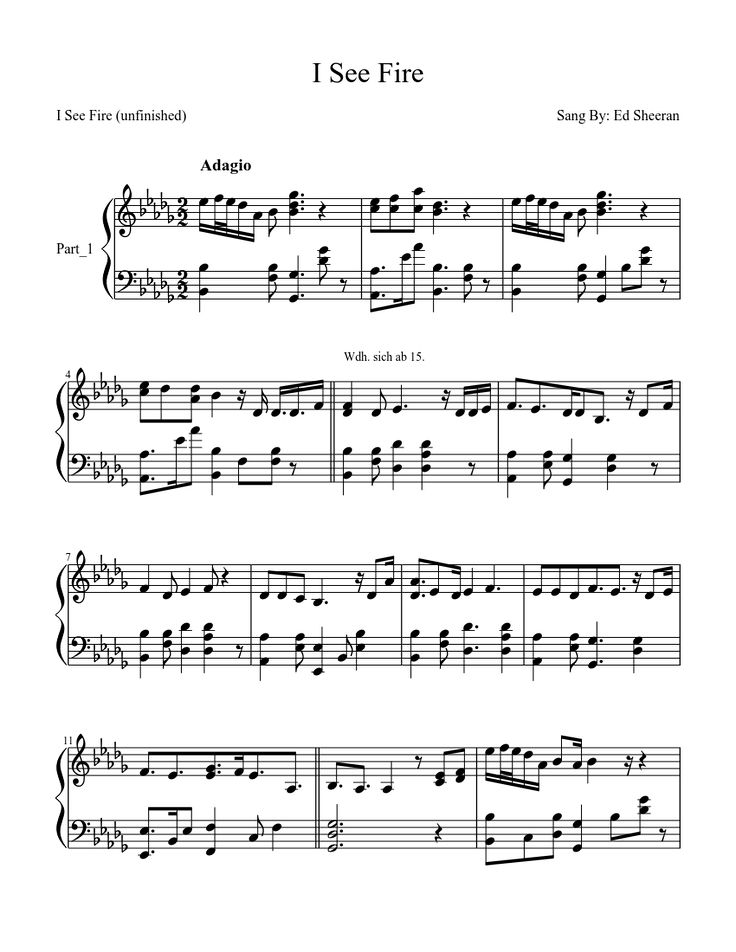 Ed Sheeran - I see fire - free piano sheet