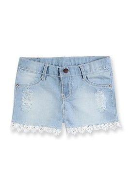 Shorts Jeans Infantil Menina Com Detalhe De Renda