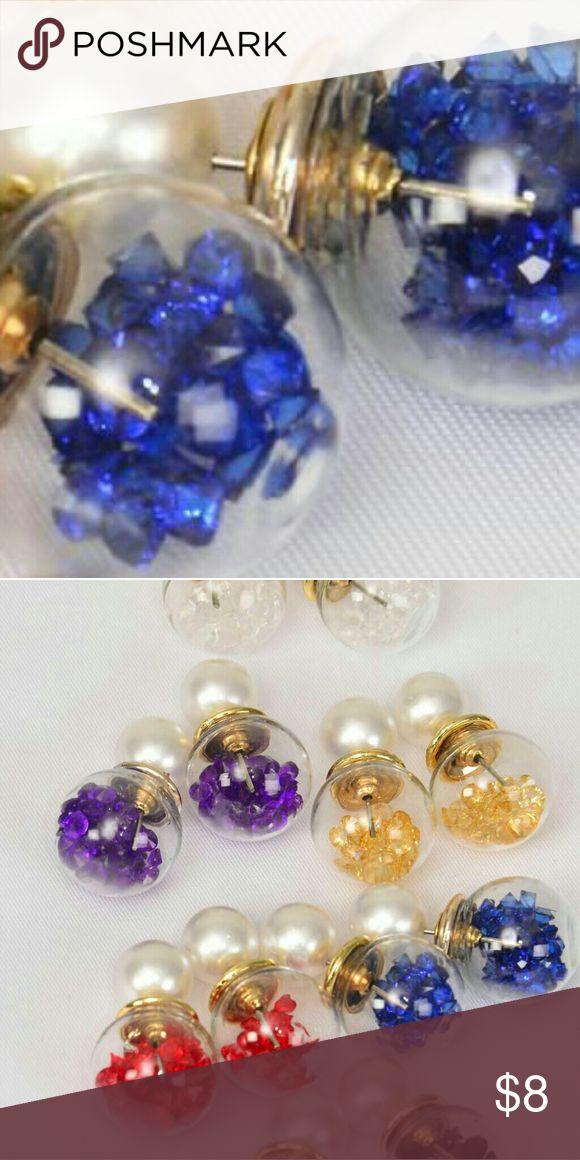 🚨1 HOUR SALE🚨Pearl Double Sided Earrings Blue Pearl Glass Ball Double Sided Earrings Jewelry Earrings