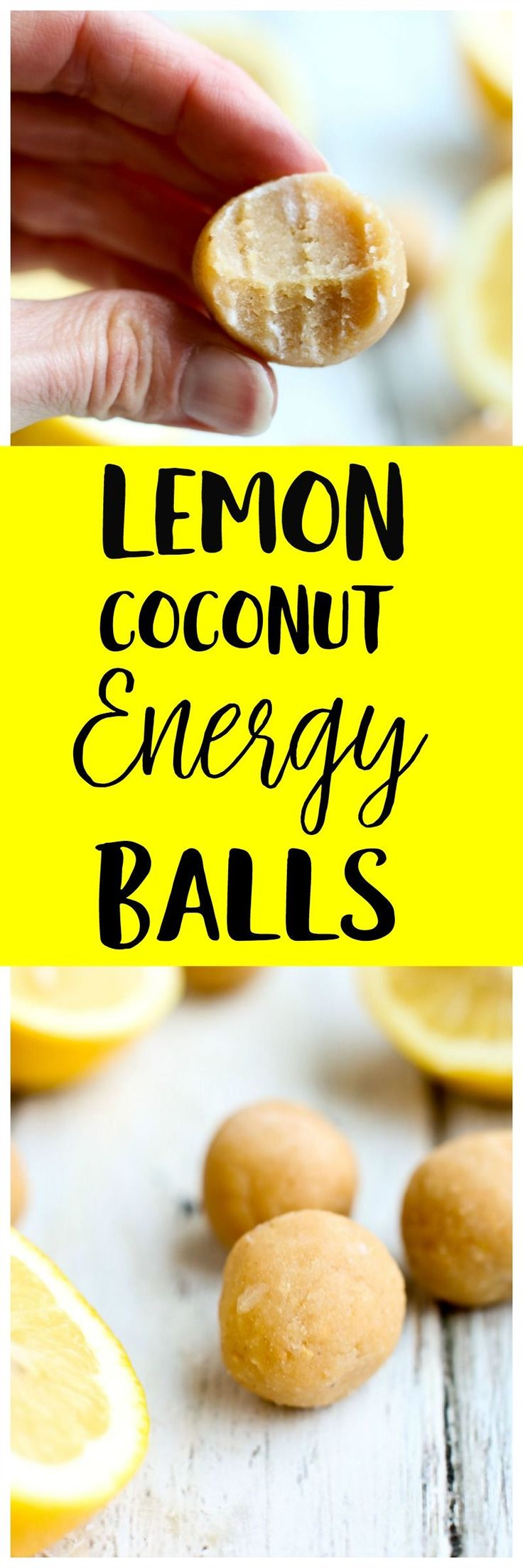 These Lemon Coconut Energy Balls are low sugar, low carb, high protein, and made with nutritious ingredients. The whole family loves this healthy gluten-free and vegan snack recipe!