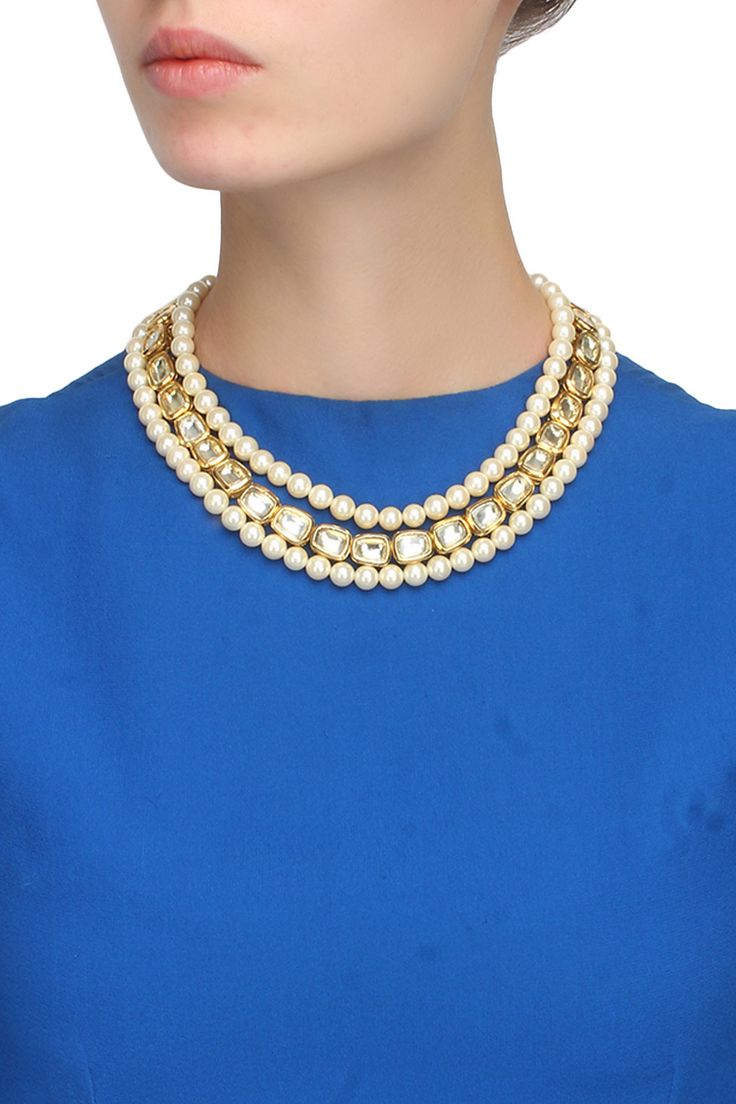Gold plated kundan and pearl multi strings necklace available only at Pernia's Pop Up Shop.