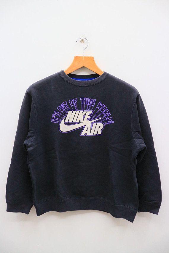 Vintage Nike Air It S Out Of This World Big Logo Sportswear Black Sweater Sweatshirt Size L Pullover Sweater Sweatshirts Black Pullover Sweater Vintage Nike