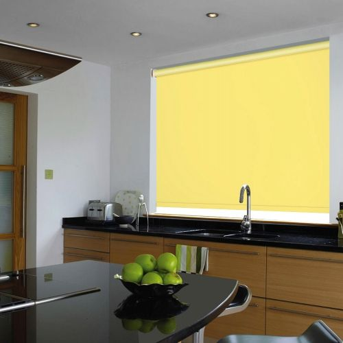 A vibrant and cheery yellow blackout blind that is waterproof and had flame retardant properties