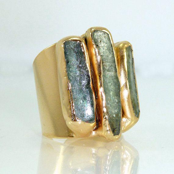 Kyanite Ring Raw Gemstones Ring Cocktail Ring 24K by inbalmishan                                                                                                                                                                                 More