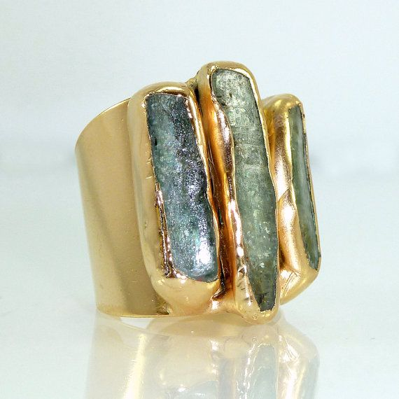 Kyanite Ring Raw Gemstones Ring Cocktail Ring 24K by inbalmishan                                                                                                                                                                                 More