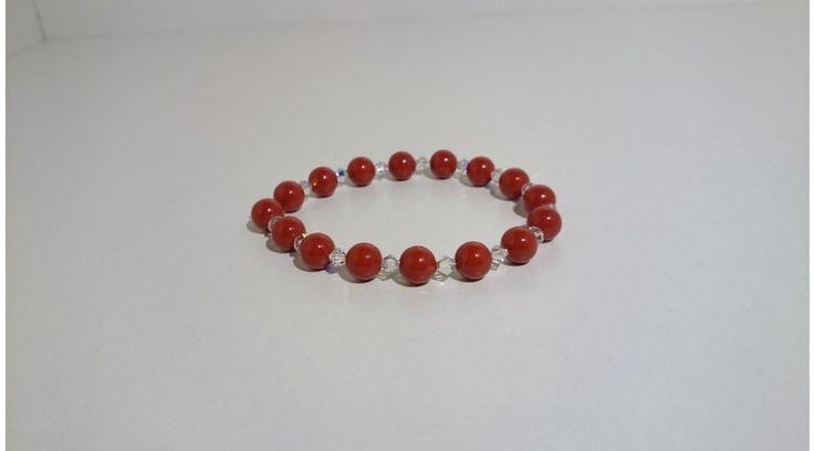 Piros swarovski gyöngy karkötő swarovski kristállyal - Karkötők - FMGyöngy - Utazás a gyöngyök világába