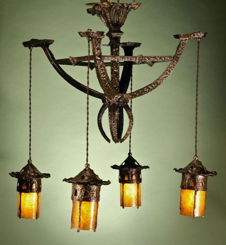Hammered Bronze Arts And Crafts Chandelier