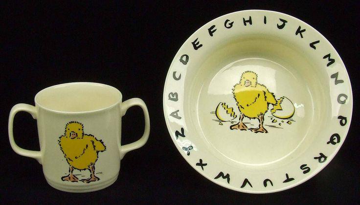 Vintage L Katzenstein England Alphabet Pottery Bowl Dish Two Handled Baby Mug Chick Egg Stork Puppy Baby Shower Gift Easter Surprise by RetroCentsStudio on Etsy