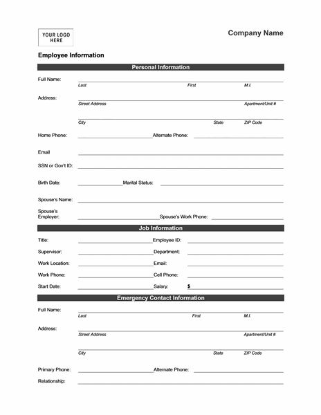 resume personal data form template