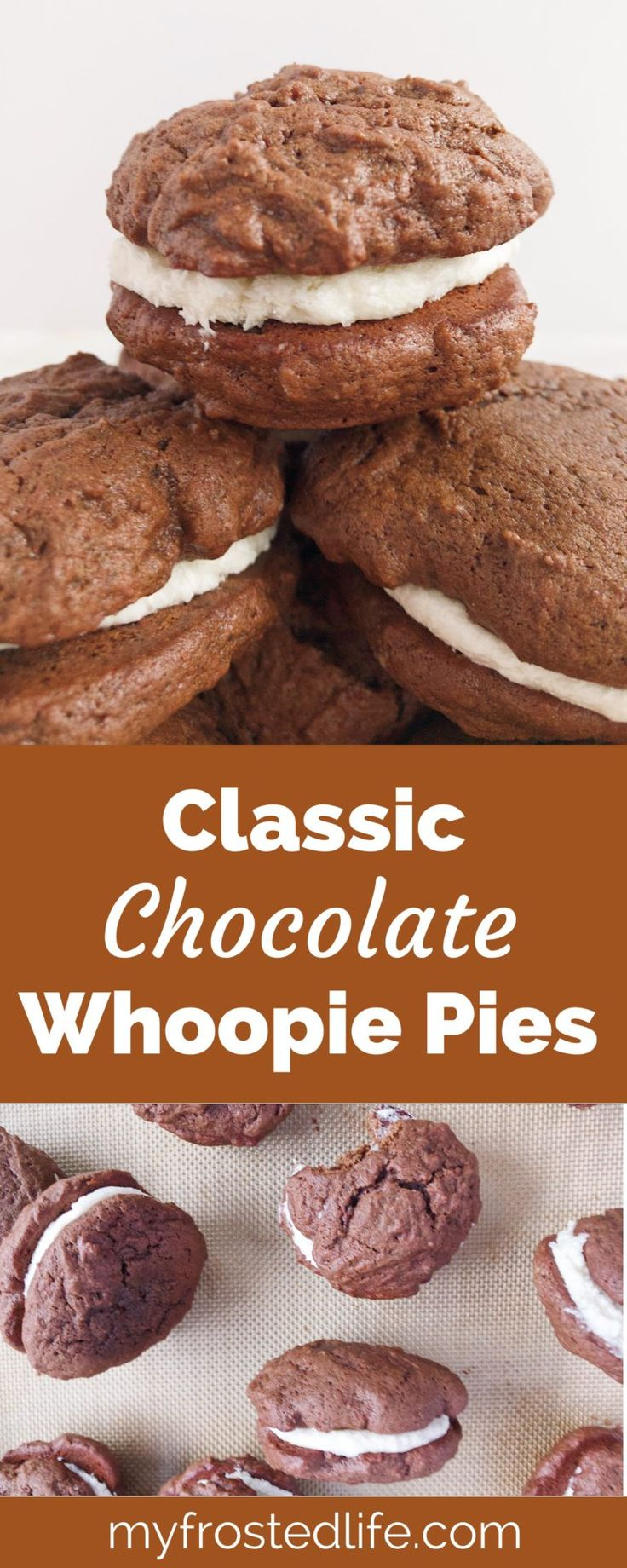 Chocolate Whoopie Pies – A childhood classic, these traditional whoopee pies feature an easy vanilla buttercream frosting sandwiched in between two chocolate cookies made from scratch. Find out how to make the best homemade whoopie pies with this recipe!