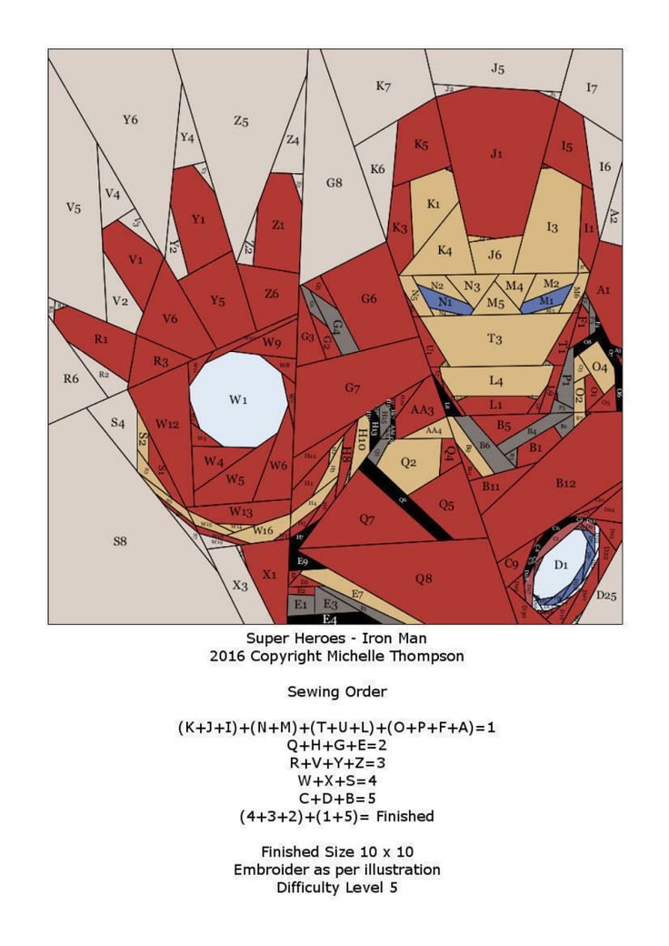 Iron Man A Paper Pieced Pattern  by misha29.com. A free paper pieced  pattern from fandominstitches.com Free for personal & non-profit use only.                                                                                                                                                                                 More