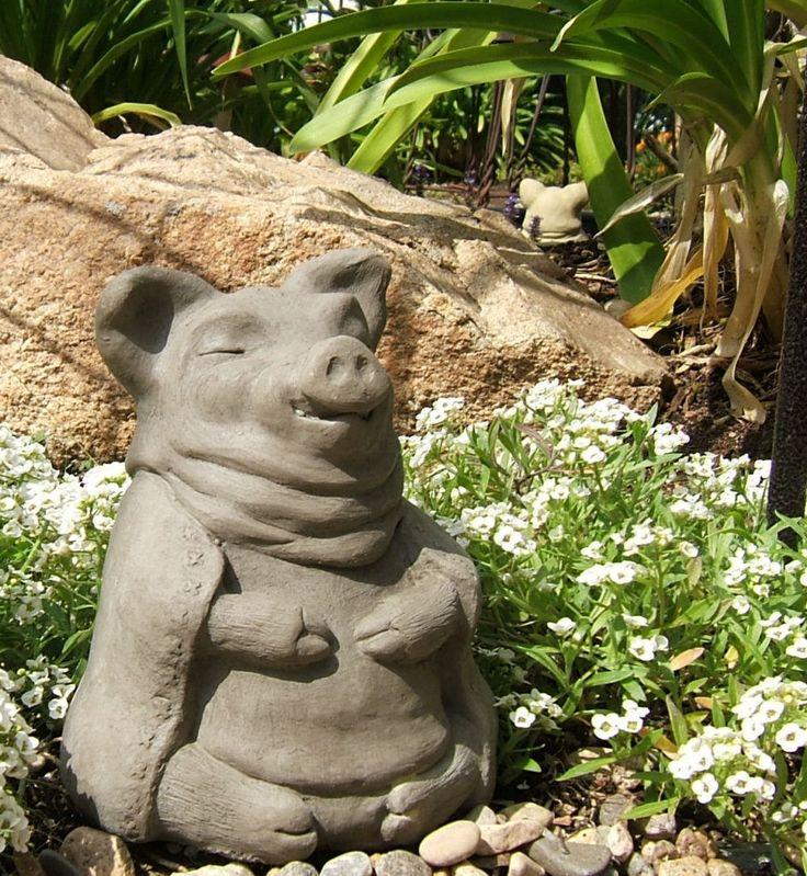MEDIUM MEDITATING PIG Solid Stone Garden Sculpture   Original Sculpture By  Designer Stone. #meditation