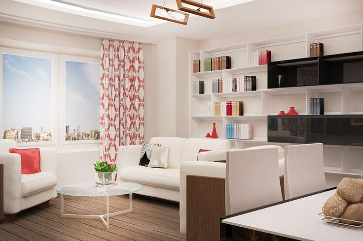 3-D визуализация совмещенной гостиной-кухни. Ракурс 1