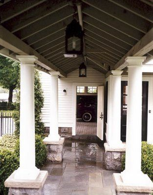house beautiful, closer view of covered walkway to carriage house or guest house