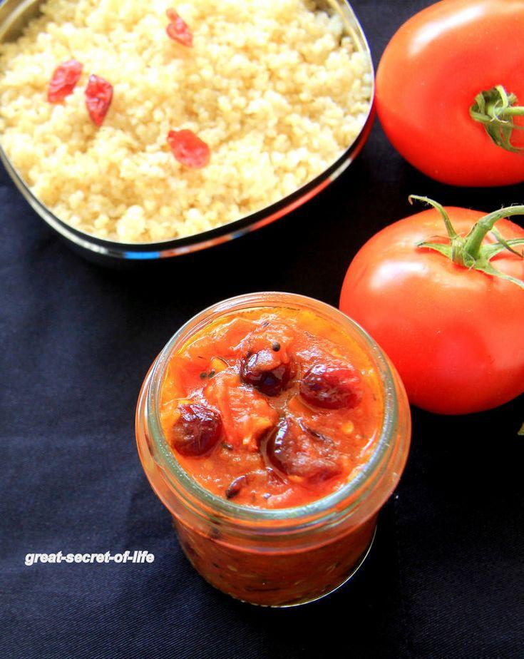 Рецепт чатни клюквы Томат - Индийский стиль клюквы томатный провал рецепт - Чатни рецепты - Dip рецепты | Большой секрет сроком эксплуатации