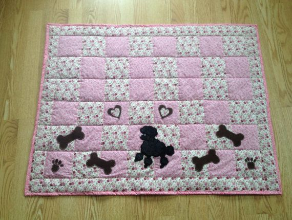 Cute poodle throw size quilt