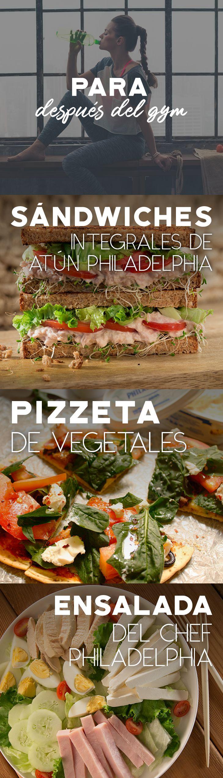 Disfruta de una rica y sana receta para saborear después del gym. ¿Cuál vas a preparar?   #Philadelphia #Queso #QuesoPhiladelphia #QuesoCrema #QuesoPhiladelphia #receta #recetas #pizzeta #vegetales #sandwich #ensalada