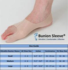 Bunion Sleeve - the ultrathin bunion corrector that can be worn with socks and shoes. Ideal for active people and perfect for runners and walkers.