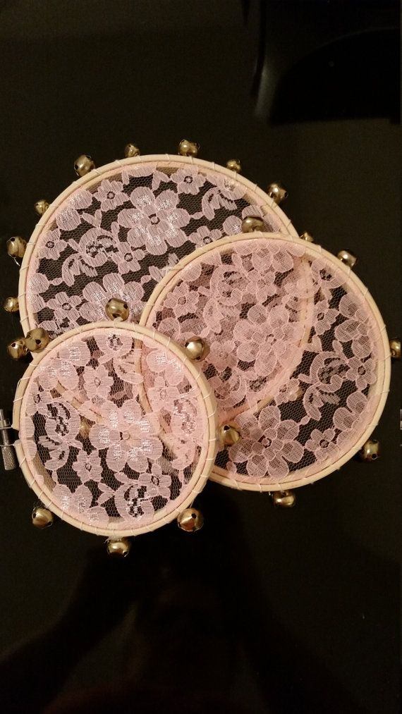 6 Blush Lace Tambourine With Bells By ThenHeKissedMe On