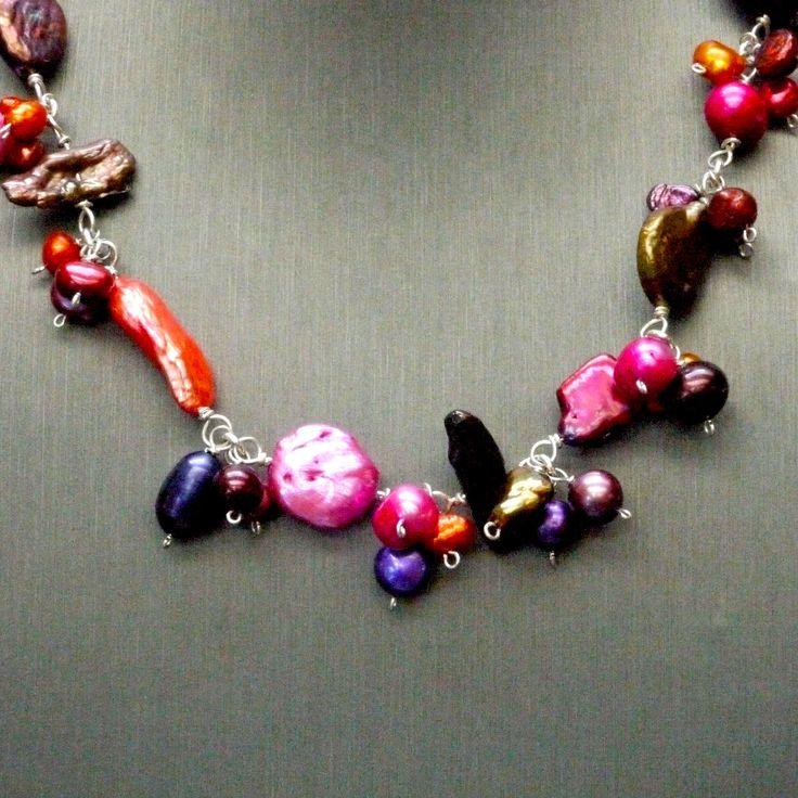 "Fresh Water Pearls, Sterling Silver Length: 17"" - 19"" / 43cm - 48cm nec020cu"