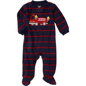 Child of Mine Carters Newborn Boys' Firetruck Fleece Sleep n Play Jumpsuit