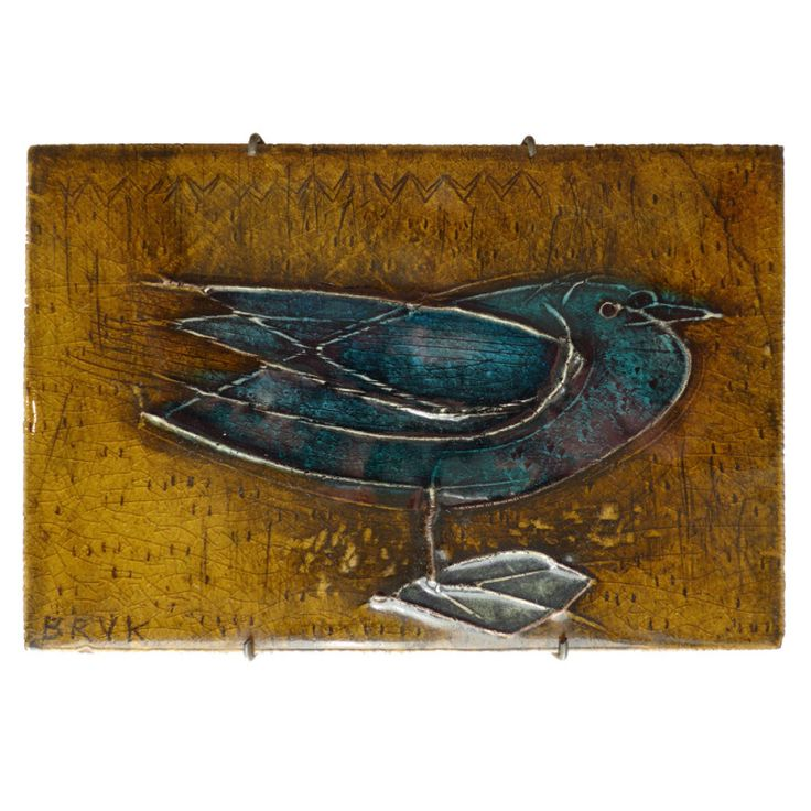 Rut Bryk Plaque Finland c. 1950's Stoneware plaque with bird motif by Finnish ceramic artist Rut Bryk (1916-99). Hand-made at Finland's Arabia factory, c. 1950's. Signed front and back. An excellent example of Bryk's earlier, figurative work in immaculate original condition. In a vintage wall mount.