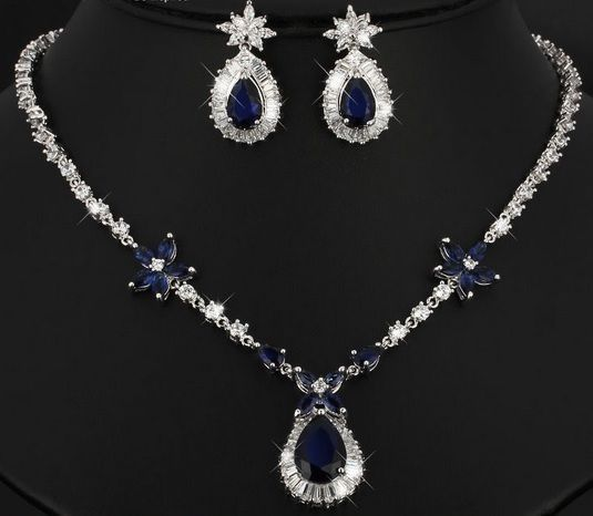 Set Women Necklace Jewelry Crystal Wedding Pendant Fashion Hot Earrings Party  #Unbranded