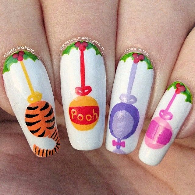 practise_makes_perfect's photo on Instagram - Adorable Winnie The Pooh Christmas Nail Art