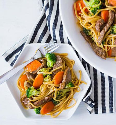 Created by: Becky James, The Crafting Chicks   Looking for an Asian inspired dinner that's not only easy but healthy too? This simple beef noodle bowl provides a well-balanced meal quickly…the perfect dish to prepare for National Family Meal Month.