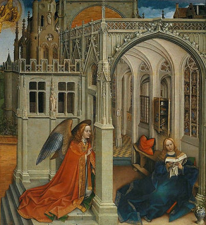 Robert Campin, De annuciatie, 1418-19, olieverf op paneel, 76 x 70 cm, Museo del Prado, Madrid