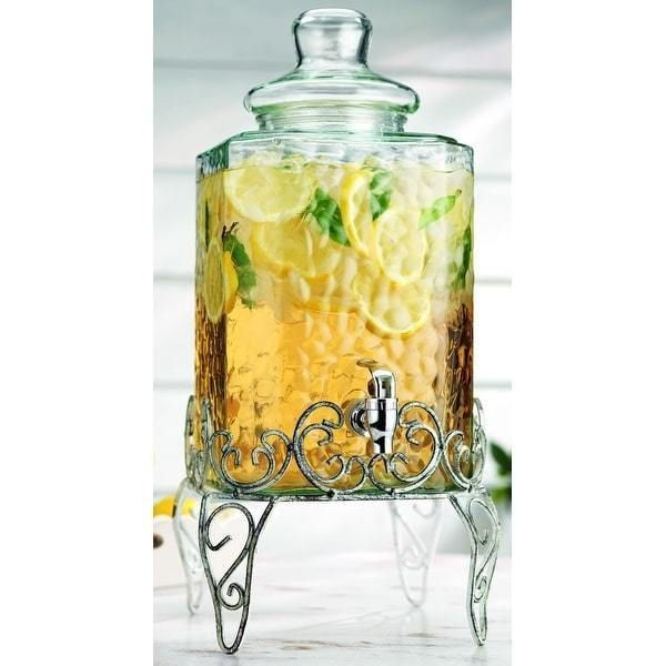 Dispenser 2.25 Gal Glass Water Jug Pitcher Glass Lid Metal Stand free shipping #Dinev