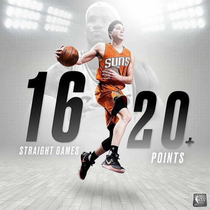 @Regrann from @nbatv -  Devin Booker is now the youngest player with 20PTS in 16 straight games before the age of 21 passing LeBron James' previous record (15).#MMV #BIGLIFE - #regrann