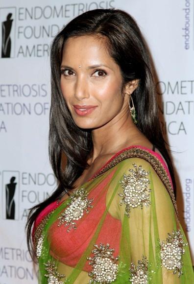 Padma Lakshmis sleek, brunette hairstyle