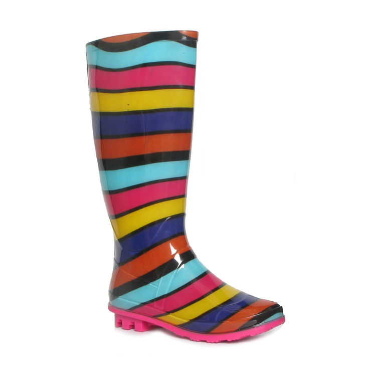 79381  Womens Multi Coloured Stripy Pull On Wellington Boot   £12.99 www.shoezone.com  #wellies #ladies #wellingtons #multicoloured #winter #autumn #rain #stripey