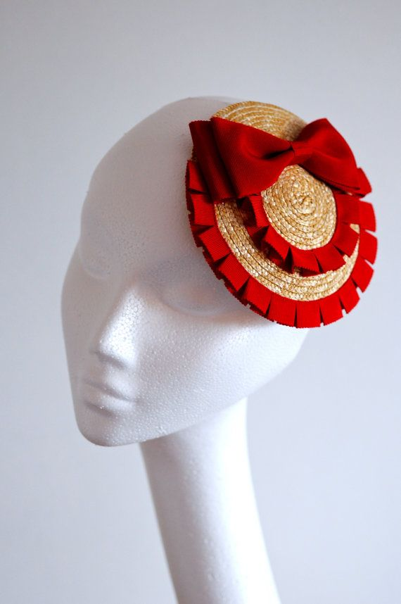 Red Bow Straw Fascinator Mini Hat by LiDDesignsBoutique on Etsy