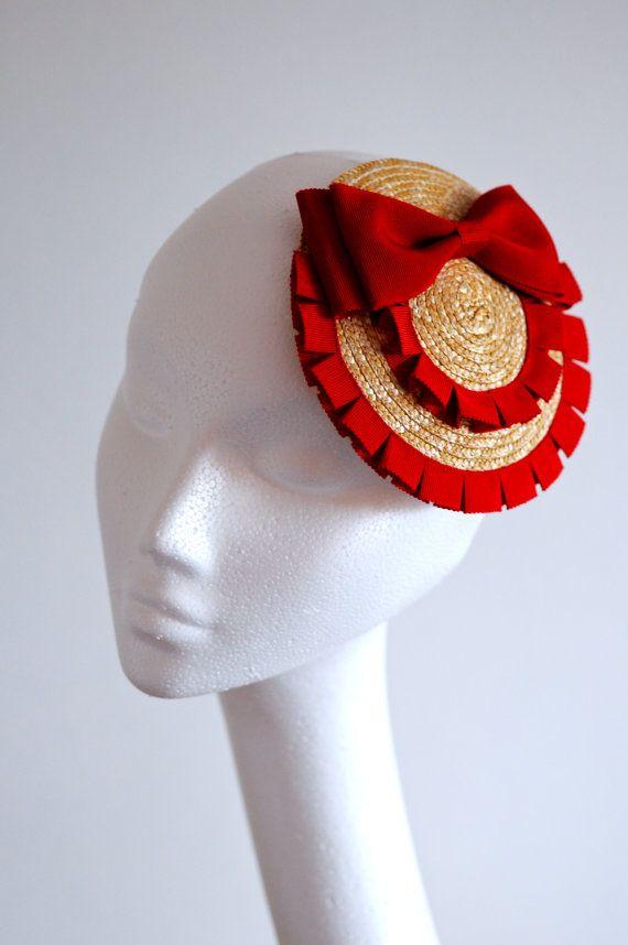 Red Bow Straw Fascinator Mini Hat by MaynardMillinery on Etsy, £45.00