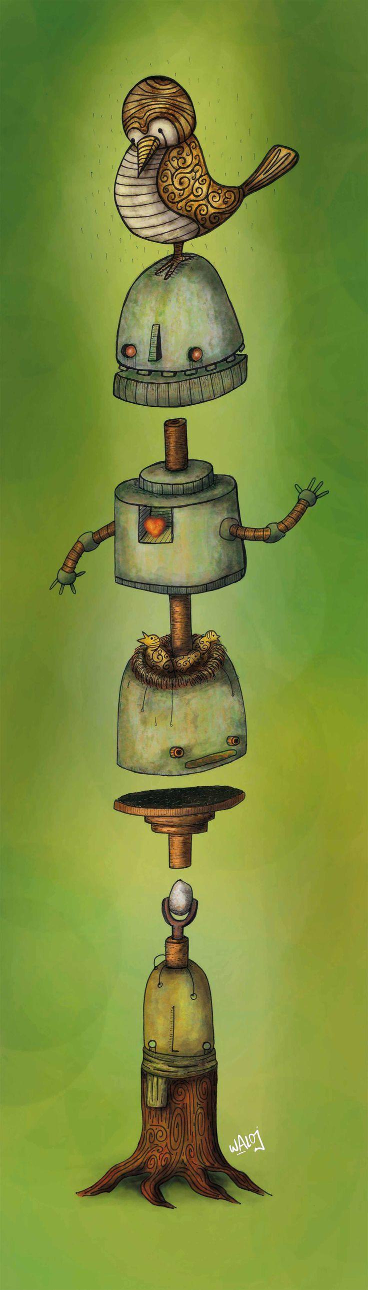 Cuando la naturaleza se fusiona con los robots #birds#machine #trees #gaia #ilustracion #illustration #digital#drawing #draw #dibujo