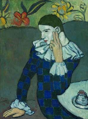 Arlequin penchant,  par Pablo Picasso