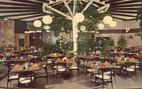 Vintage 1960s Postcard Sand Dollar Restaurant Lounge St Petersburg Florida Tropical Garden Room Serving Lu Gone But Not Forgottten