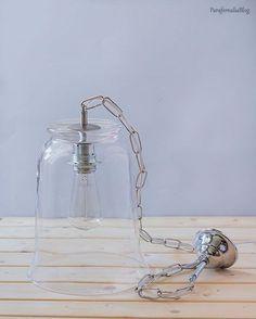 DIY: lámpara con jarrón de Ikea. Como hacer agujeros en cristal y crear una lámpara de techo de vidrio soplado por poco dinero.