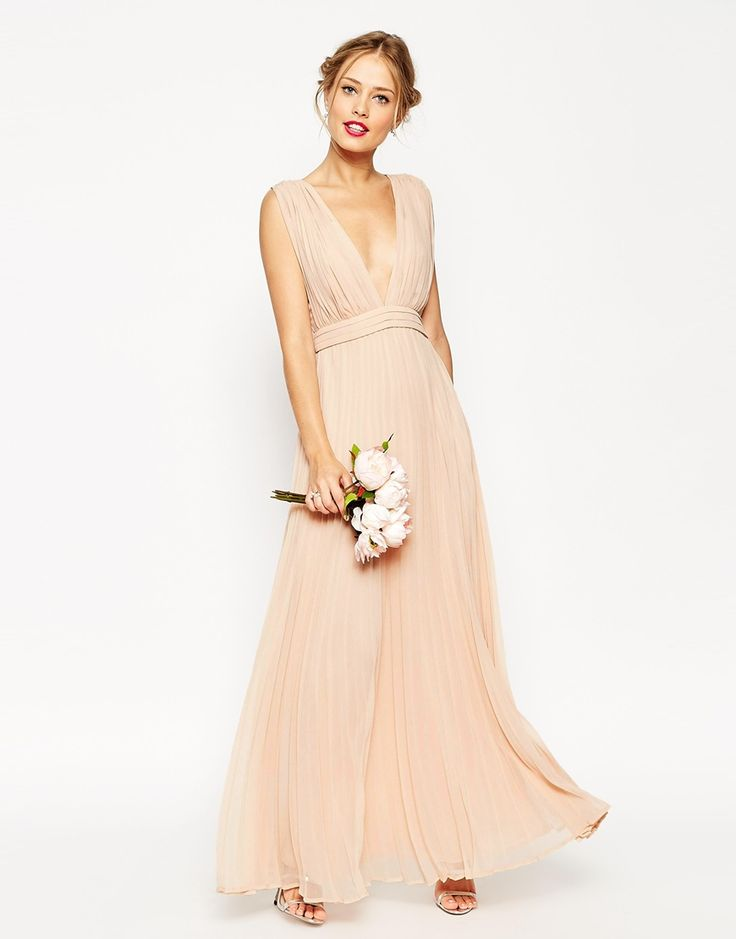 Image 1 ofASOS WEDDING Deep Plunge Super Full Pleated Maxi Dress