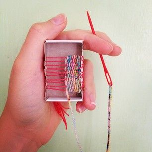 matchbook weaving. for the woven necklaces